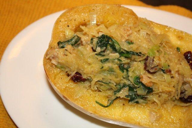 Spinach & Walnut Spaghetti Squash