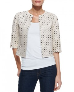 Perforated Leather Cardigan $395