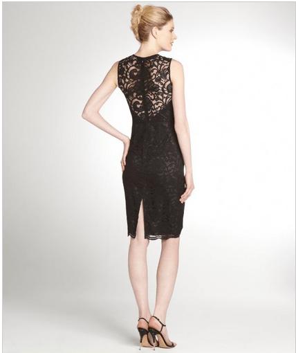 JILL STUART Black And Bordeaux Lace Overlay Shift Dress $180 at BlueFly.com