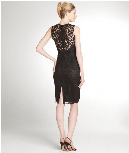 JILL STUART Black And Bordeaux Lace Overlay Shift Dress $180 at BlueFly.com