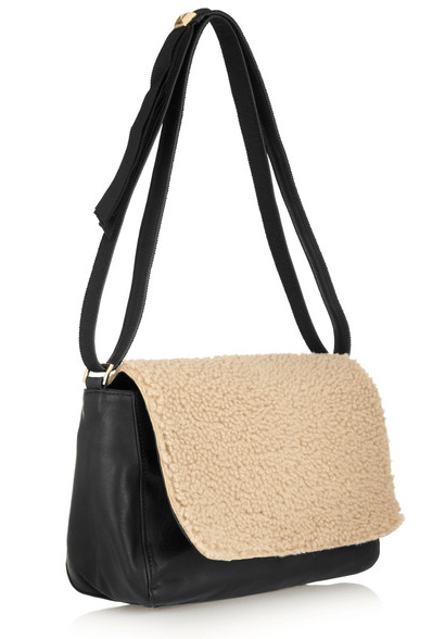 CLARE V Louise shearling and leather shoulder bag Was $455 Now $227.50 50% OFF at netaporter.com