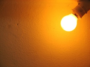 wall background lit by a lamp