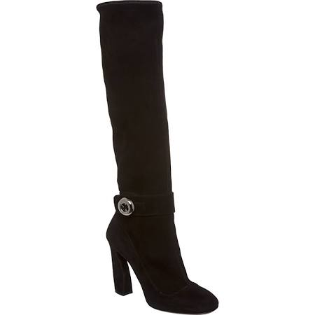 Prada Women's Black Suede Knee-High Button Boots $799.99 at Overstock.com