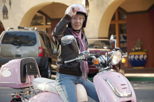 sixty year old biker in the city