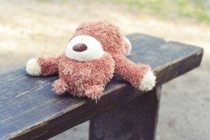 abandoned teddy bear