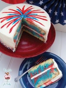 Fireworks cake for July 4th