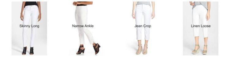 4 White Pant Types