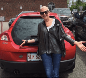 ronna with red car