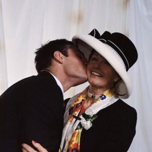 Groom kisses his mother