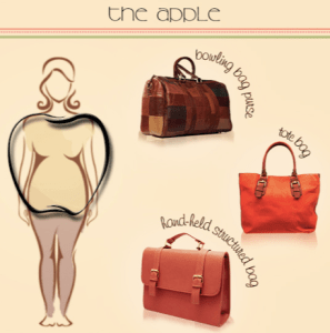 apple body shape and purse