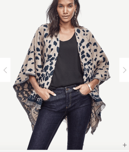 Fringe Trimmed Spotted Cape From Ann Taylor