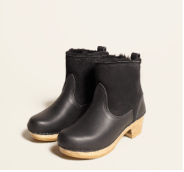 "No.6 5"" Pull on Shearling Boot on Mid Heel in Black Suede"