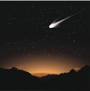 Digital illustration of a comet in the sky