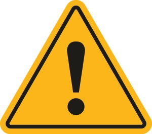 Danger sign. Exclamation point on a white background. Vector illustration