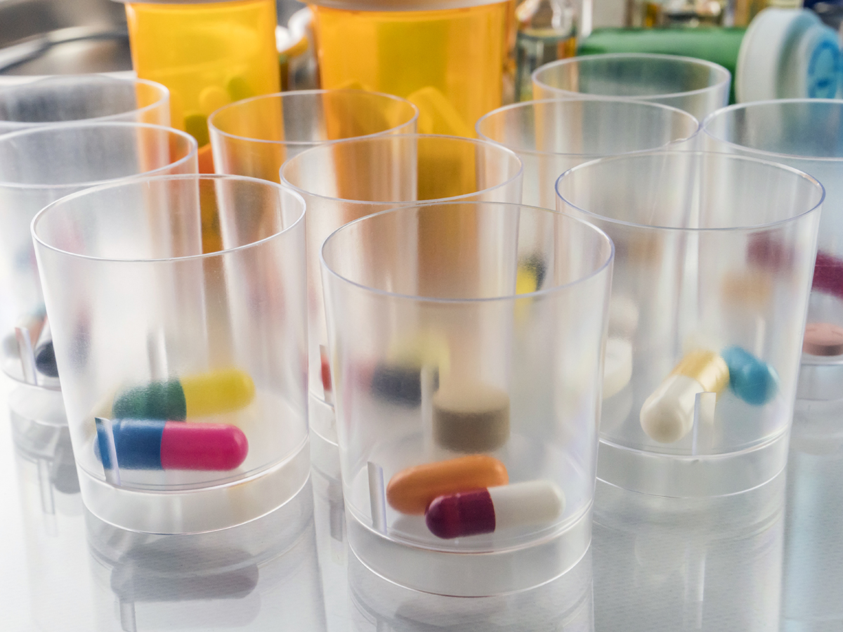 Medication in cups