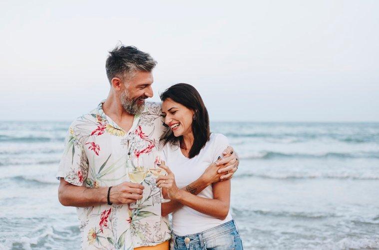 Couple on Honeymoon near sea in Europe