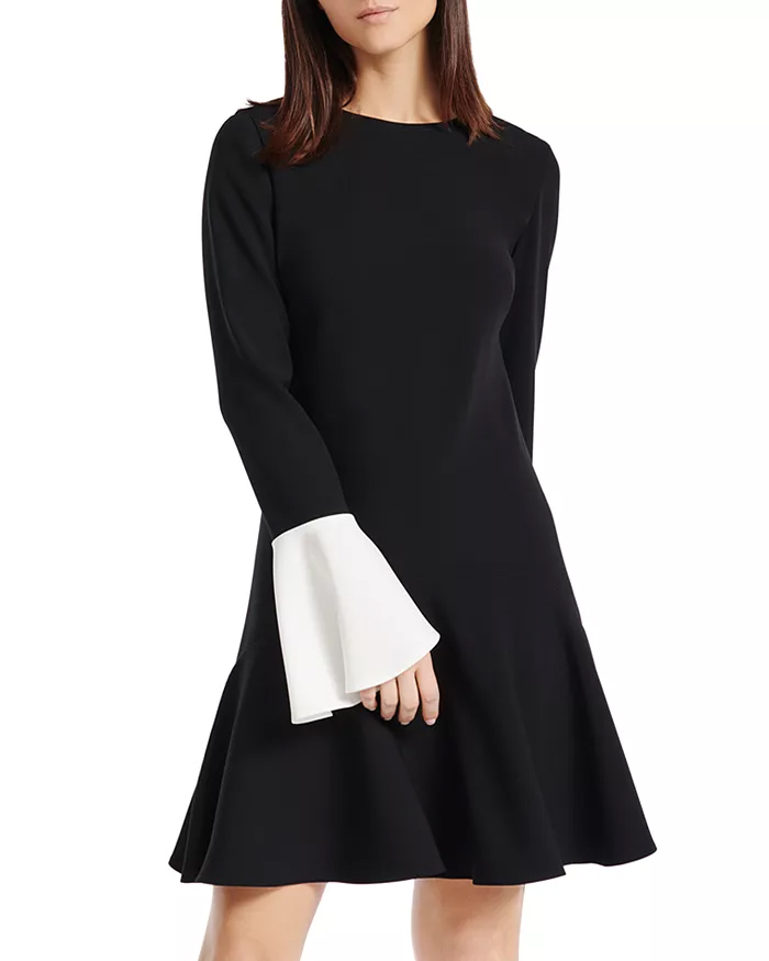 PAULE KA Contrast Color-Cuff A-Line Dress