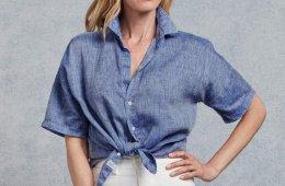 Blue linen blouse