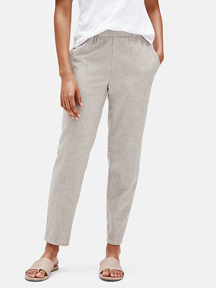 Organic cotton linen ticking stripe slouchy pant