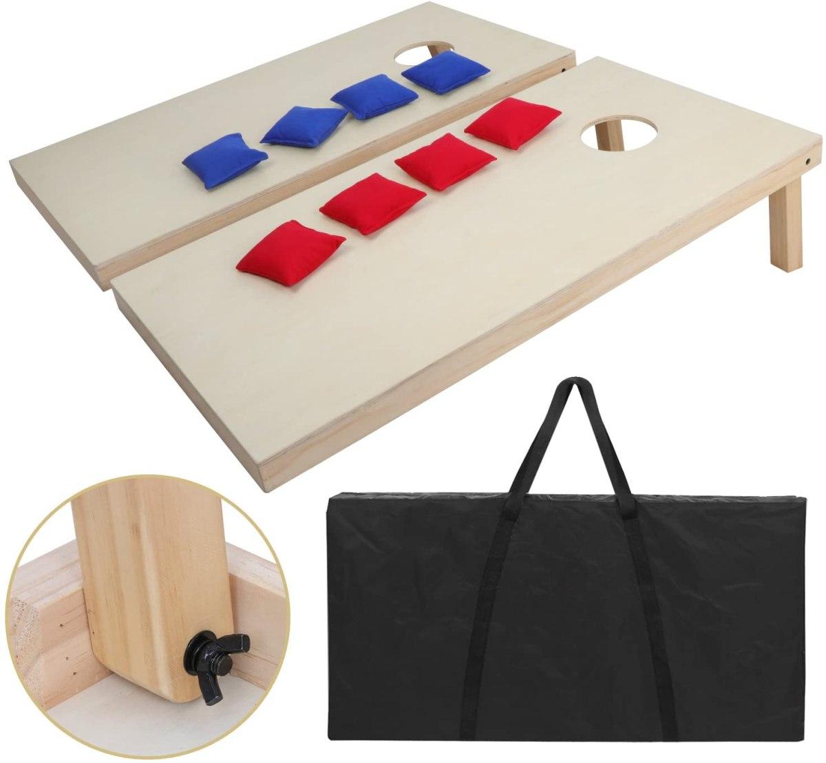 ZENY Portable Wood Cornhole Set