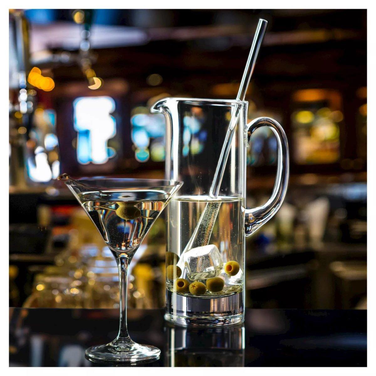 Krosno Handmade Glass Bond Martini Pitcher and Stirrer - 30oz