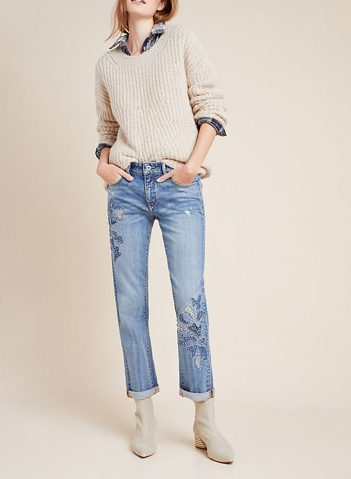 Pilcro High-Rise Embroidered Boyfriend Jeans