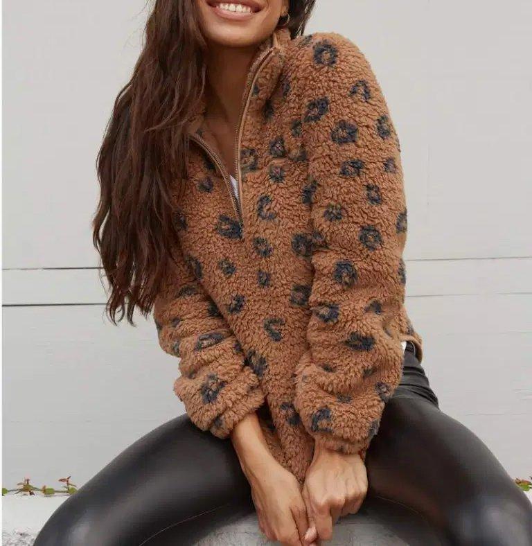 Leather Trim Sweatshirt