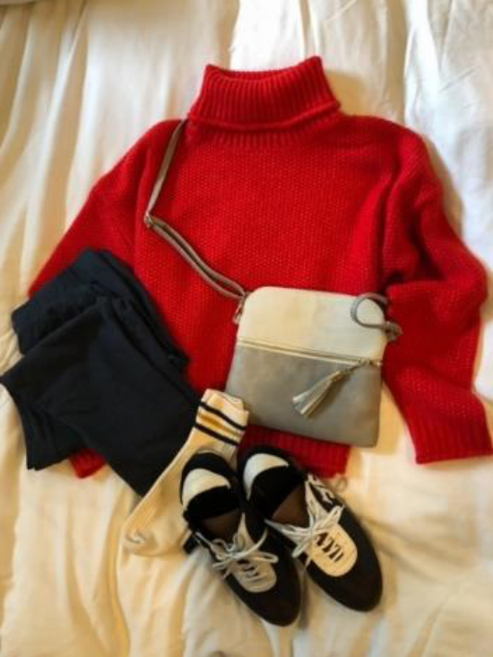 My cherry red KUT sweater with Tory Burch sneakers