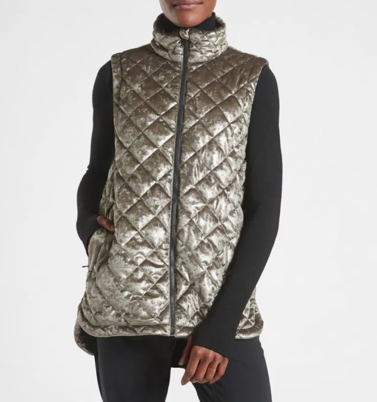 Athleta Whisper Metallic Velvet Vest $159