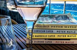 Books on a table on a ship