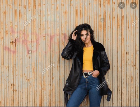 Yellow shirt and moto jacket