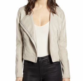 BlankNYC Record Breaker Collarless Faux Leather Moto Jacket $98.00