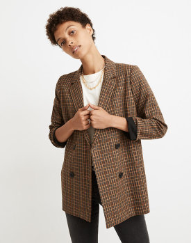 Madewell Double-Breasted Blazer in Mandell Plaid $134.40