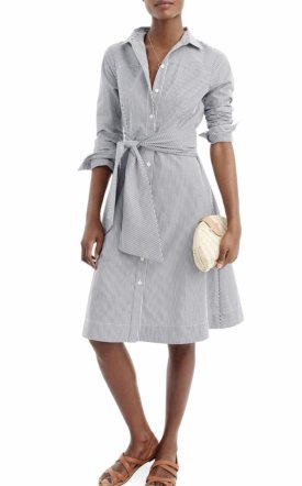 J.Crew Stripe Tie Waist Shirtdress