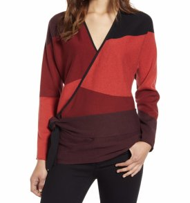 Nic + Zoe New Wave Colorblock Faux Wrap Sweater $158.00