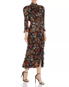 Cinq à Sept Juliana Tie-Waist Silk Midi Dress