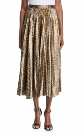 ALC Bobby Leopard Print Pleated Midi Skirt