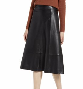 Halogen A Line Leather Midi Skirt $179.40