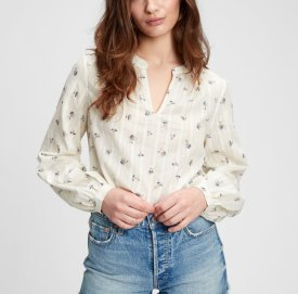 Shirred Popover Top $59.95