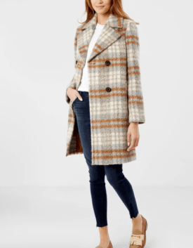 Double Breasted Wool Blend Coat $240
