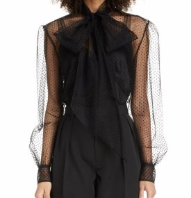 Marc Jacobs Polka Dot Tie Neck Sheer Tulle Blouse $850.00