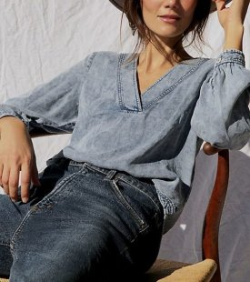 Pilcro Washed Chambray Blouse $98