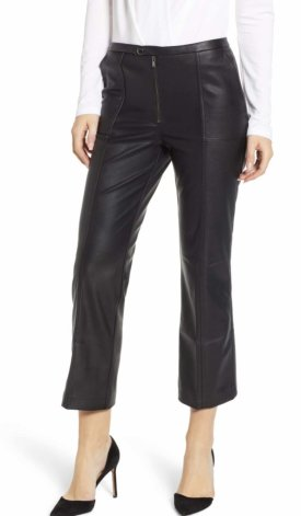 David Lerner Pintuck Flare Faux Leather Trousers $176.00