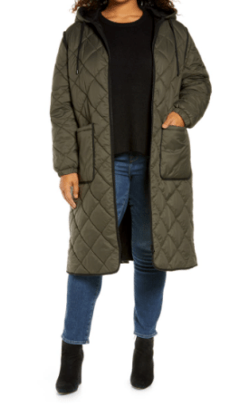 Long Hooded Quilted Coat $78.90