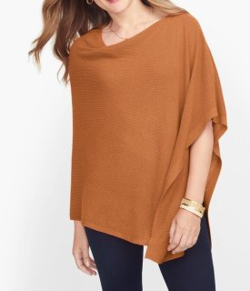 Ribbed Linen Blend Poncho $69.50