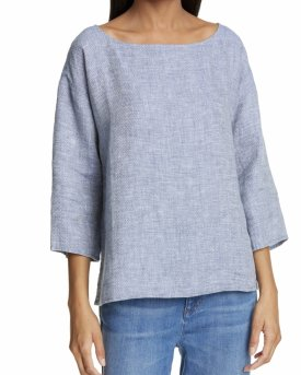 Eileen Fisher Print Organic Linen Top $118.00