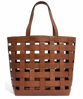 Madewell Medium Transport Basketweave Leather Tote