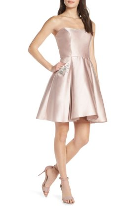 satin fit and flare dress
