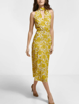 High Neck Floral Tiered Midi Dress $102.95