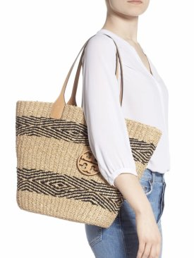 Tory Burch Miller Stripe Straw Tote